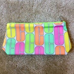 Clinique neon cosmetic bag